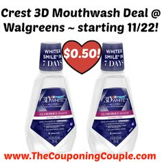 BE SURE TO PRINT YOUR COUPON NOW! Crest 3D Mouthwash Deal @ Walgreens ~ starting 11/22!  Click the link below to get all of the details ► http://www.thecouponingcouple.com/crest-3d-mouthwash-deal-walgreens-starting-1122/ #Coupons #Couponing #CouponCommunity  Visit us at http://www.thecouponingcouple.com for more great posts!