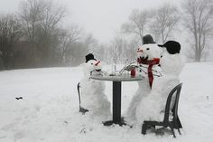These three snowmen don't have enough sense to come in out of the cold! They would rather sit outside drinking and playing cards and freeze! [The designated driver is drinking Dr. Pepper though!]