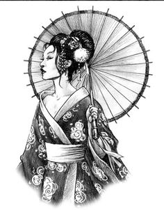 Geisha with umbrella tattoo - Geisha with umbrella tattoo You are in the right place about Geisha with umbrella tattoo Tattoo Desi - Geisha Tattoos, Geisha Tattoo Design, Japanese Drawings, Japanese Tattoo Art, Japanese Tattoo Designs, Japanese Prints, Geisha Kunst, Geisha Art, Geisha Makeup