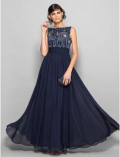 Free Measurements ! A-line Scoop Floor-length Chiffon Evening Dress (1164710) -