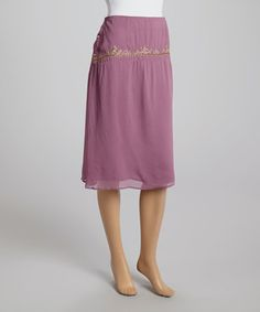 Look what I found on #zulily! Lavender Embroidered Button-Up Skirt by Papillon Imports #zulilyfinds