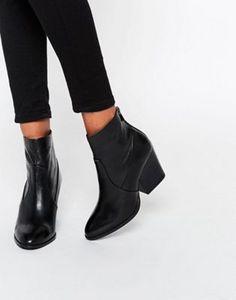 "67. 3"" ASOS RAYA Leather Heeled Sock Boots"
