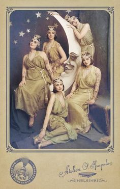 vintage postcard - ladies and the crescent moon,  .
