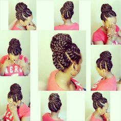 Goddess braids / bun - All About Braided Hairstyles Updo, My Hairstyle, African Hairstyles, Braided Updo, Pretty Hairstyles, Goddess Hairstyles, Bun Updo, Protective Hairstyles, Goddess Braids Updo