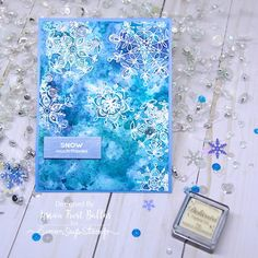 SSS January card kit 2017; SSS FROZEN FRACTALS; snowflakes; watercolor; emboss resist; blue white; beautiful