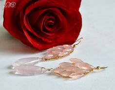 Rose Quartz and Pink Chalcedony Long Earrings by luxurybyvera,