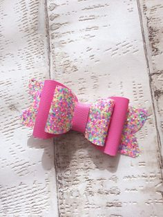 Rainbow Sprinkles Glitter and Leatherette Hair Bow
