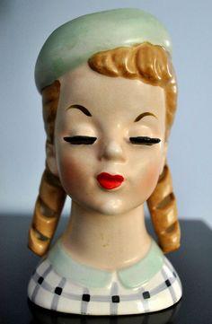 Vintage Teenage Girl Head Vase