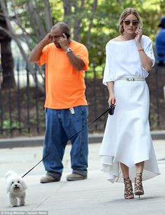 One brave girl: Olivia Palermo sported an impressive pair of heels as she embarked on a walk with her dog Mr. Butler in Brooklyn on Tuesday