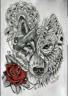 Mandala wolf rose tattoo More Similar but swan Wolf Tattoo Back, Tribal Wolf Tattoo, Polynesian Tribal Tattoos, Small Wolf Tattoo, Wolf Tattoo Sleeve, Small Heart Tattoos, Sleeve Tattoos, Tattoo Wolf, Pretty Skull Tattoos