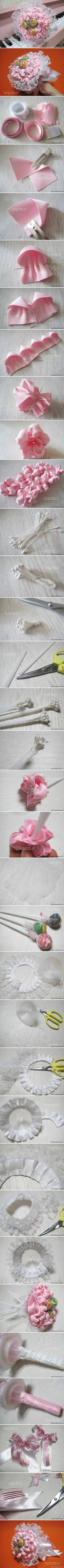 DIY Ribbon and Lace Candy Bouquet DIY Projects