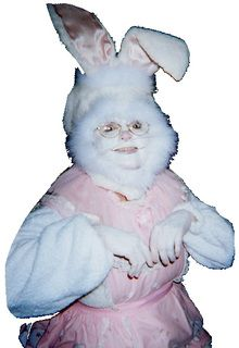 It's a cross between the Easter Bunny and Mrs. Claus!  Ya just gotta LOL on this one!