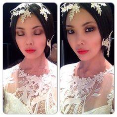 Model Xaio backstage in the Claire Pettibone 'Sonata' wedding dress, Still Life Collection