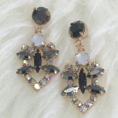 "Smoky Grey & Opal Formal Earrings Dressy and Awesome! 1 1/2"" long Fashion jewelry Jewelry Earrings"