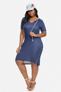 Plus Size Volley Hooded Zip Dress
