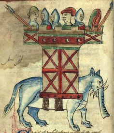 An elephant carrying a war castle filled with soldiers. From a Medieval Bestiary manuscript.