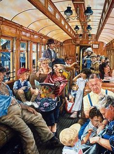 """""""On the Train"""" by Susan Brabeau {American painter}"""