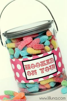 Hooked on You Valentines Pail (w/ printable lables). Great gift for a fisherman valentine!  =)