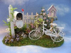 Dollhouse Miniature Garden by jacquelyn Mini Fairy Garden, Fairy Garden Houses, Fence Garden, Ideas Para Decorar Jardines, Fairy Furniture, Paludarium, Fairy Garden Accessories, Miniature Fairy Gardens, Miniature Rooms