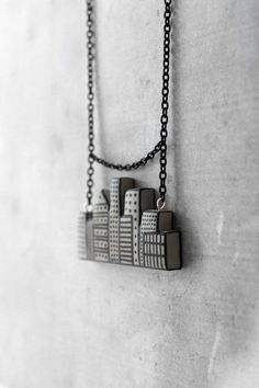Geometric urban city necklace - gray & black handmade polymer clay pendant for woman with skyscrapers unique Christmas gifts and trending items for her by AnankeJewelry