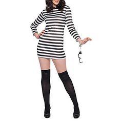 Prisoner Black and White Stripes Women's Costume