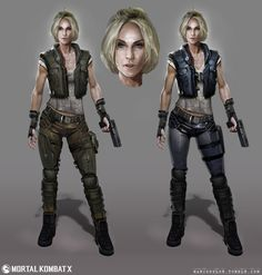View an image titled 'Sonya Blade Concept Art' in our Mortal Kombat X art gallery featuring official character designs, concept art, and promo pictures. Sonya Blade, Female Character Design, Game Character, Character Concept, Mortal Kombat X, Cyberpunk, 8bit Art, Female Armor, Dibujo