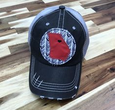 3ddded69e77 Athens Love   State of Georgia Embroidered Raggy Patch Distressed Black and  Grey Trucker Hat or Messy Bun Ponytail Cap