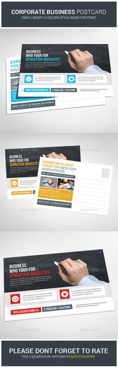 Buy Multiuse Business Postcard Template by GraphicForestNet on GraphicRiver. Multiuse Business Postcard Template Specification CMYK Color Mode 300 DPI Resolution Size Bleed in Each Si. Postcard Template, Postcard Design, Corporate Flyer, Corporate Business, Work Inspiration, Graphic Design Inspiration, Design Ideas, Direct Mail Design, Business Postcards