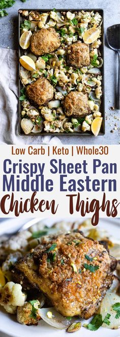 Sheet Pan Paleo Za'atar Chicken Thighs - an easy, one-pan, low carb healthy dinner with big, bold Middle Eastern flavors! The perfect keto friendly dish for meal prep or busy weeknights and you'll learn the secrets to crispy chicken thighs! | #Foodfaithfitness | #Glutenfree #Paleo #Whole30 #Lowcarb #Keto Chicken Thigh Recipes, Healthy Chicken Recipes, Healthy Dinner Recipes, Paleo Chicken Thighs, Paleo Recipes, Real Food Recipes, Cooking Recipes, Chicken Meals, Paleo Food