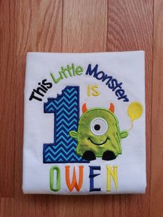 Applique Monster Birthday Shirt. Let everyone know its your Monsters special day. Monster Birthday Shirt, monster 1st birthday shirt, Embroidered