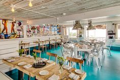 such awesome decor for a restaurant! House of Turquoise: The Surf Lodge - Montauk, NY