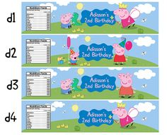 Printable George Pig Peppa Pig Water Bottle by RedAppleStudio Peppa Pig Birthday Cake, 3rd Birthday, Birthday Parties, Pig Party, Water Bottle Labels, Kids Stickers, Birthday Party Decorations, Party Supplies, Halloween Candy