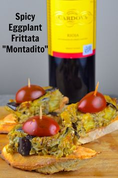 """Spicy Eggplant Frittata """"Montadito"""" - Vegetarian and kosher.  Tapas from Spain may sound intimidating, but there are not.  Try this tapa with smoky, spicy eggplant frittata on top of a crunchy baguette slice.  The perfect bite size food.  Perfect for a friend get together, pot luck dinner or Super Bowl party."""