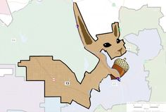 First in a series of artworks based on gerrymandered LA city council districts