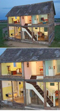 This old farmhouse has been turned into a full-sized dollhouse. (Unfortunately, due to safety and stability issues, it has since been burned down.)