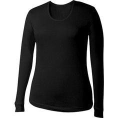 Terramar Women's Thermasilk Scoop Neck Top, Large US Size 14, Black ** You can find out more details at the link of the image. (This is an affiliate link) #BaseLayers