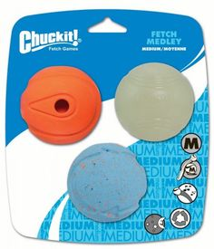 Chuckit Fetch Medley Ball Medium 3 pack -- You can get additional details at the image link. (This is an affiliate link) Whistler, Dog Fetch Toy, Ball Launcher, Durable Dog Toys, Pomsky, Cool Pets, Kit, Dog Supplies, Dog Bed