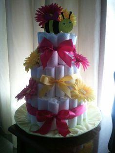 Baby shower diaper cake for girls