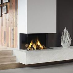 Three Sided High Effeciency Gas Fires with Glass Front Basement Fireplace, Modern Fireplace, Fireplace Wall, Fireplace Design, Contemporary Gas Fires, Flame Picture, Chiminea, New Homes, Glass