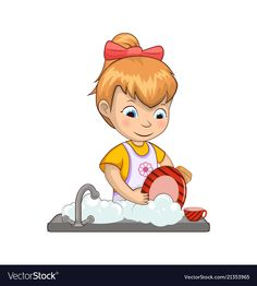 Little girl washing dishes Royalty Free Vector Image Water Drawing, Human Drawing, Action Pictures, Action Cards, Islamic Cartoon, Seascape Art, Picture Story, Washing Dishes, Lessons For Kids