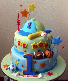 Sports Theme 1st Birthday Cake by specialcakes/tracey, via Flickr