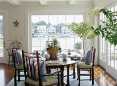 Five Mile River Home - Design Chic - an amazing dining room - love the water view!