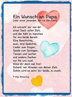 A wish to Papa * Elke& children& stories- Ein Wunsch an Papa * Elkes Kindergeschichten Elke Braunling. A wish to dad (or someone who never has time! I wish you a sack full of time and it lasts like this -