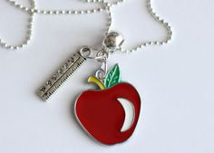 Apple Ruler Silver Necklace Snow White Apple by boriville on Etsy, $4.99