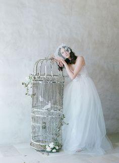 silk tulle bridal birdcage veil