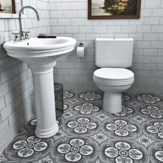 Merola Tile Cemento Queen Mary Storm 7-7/8 in. x 7-7/8 in. Cement Handmade Floor and Wall Tile-FVBCQMST - The Home Depot