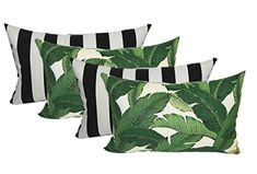 Set of 4 Indoor / Outdoor Decorative Lumbar / Rectangle Pillows - 2 Made with Tommy Bahama Swaying Palms Aloe Green Tropical Palm Leaf Fabric and 2 Black and White Stripe Fabric Black White Stripes, Black And White, Bedroom Green, Wicker Furniture, Backyard Furniture, Furniture Design, Outdoor Furniture, Striped Fabrics, Outdoor Cushions
