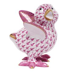 """Herend Hand Painted Porcelain Figurine """"Chicken Little"""" Raspberry Fishnet Gold Accents."""