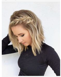 41 Pretty Braids for Short Blonde Haircuts in 2018 Braided Hairstyles Short Blonde Haircuts, Prom Hairstyles For Short Hair, Braided Hairstyles For Wedding, Simple Hairstyles For Medium Hair, Haircut Short, Haircut Styles, Hairstyle Ideas, Hair Simple, Hairstyles 2018