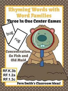 Groundhog Rhyming Words Word Families Center Games & Interactive Notebook Pages #TPT #TeachersFollowTeachers #FernSmithsClassroomIdeas